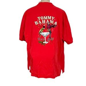 TOMMY BAHAMA Silk Christmas Get Lit Parrot Embroidered Panel-back Camp Shirt